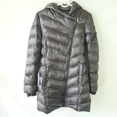 Rachel by Rachel Roy Shiny Gray Hooded Puffer Coat - XS