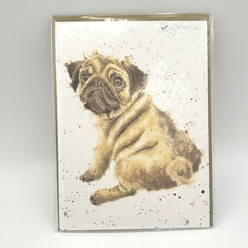 Wrendale Designs Pug Blank Card with Envelope