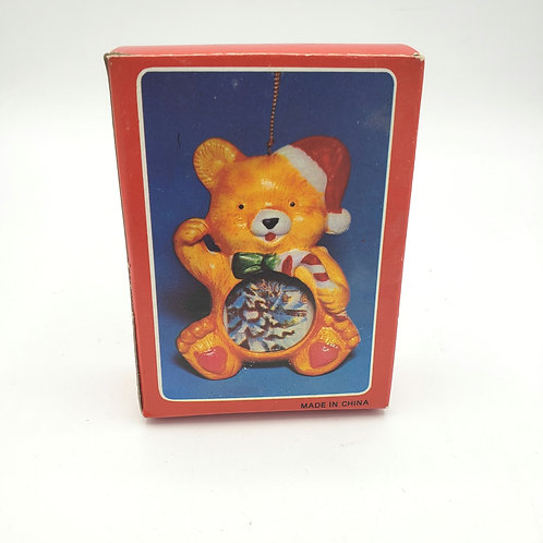 Teddy Bear Ceramic Ornament with Photo Insert