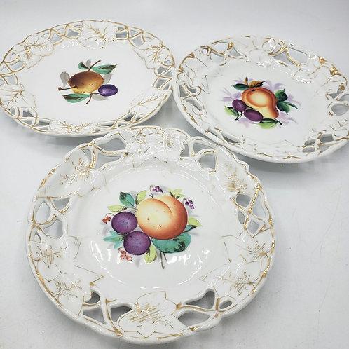 Vintage Antique Porcelain Fruit Plates Gold Rim Marked CT Set of 3