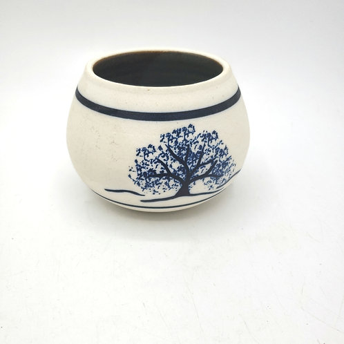 "Handmade Ceramic Small Bowl Painted Blue Tree 3.5"""