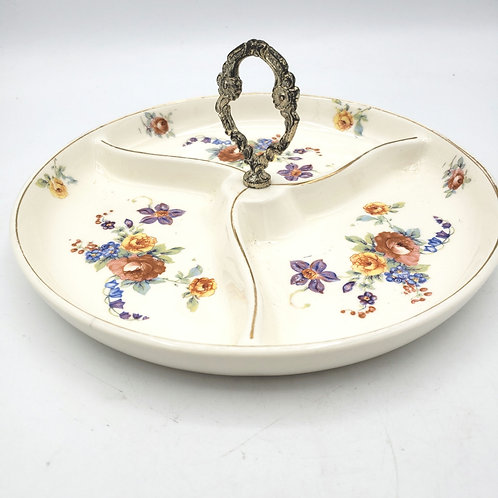 """Vintage Floral 1950's Condiment Dish with Centered Handle  8""""Japan"""