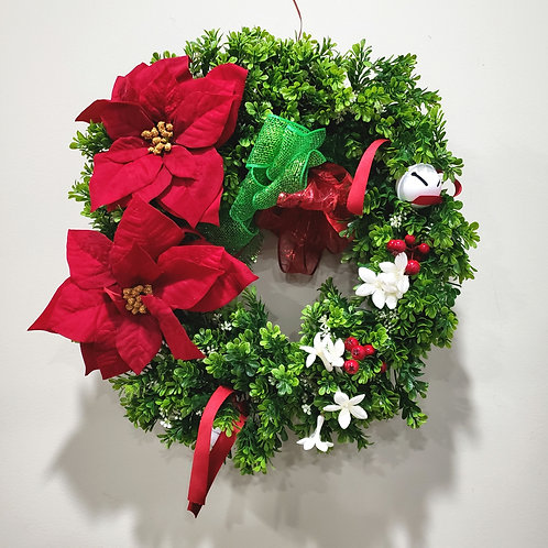 Holiday Wreath with Poinsettas