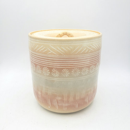 Handmade Pottery Stamped Jar with Lid