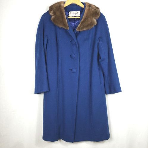 Vintage Ann August Blue Coat with Fur Collar