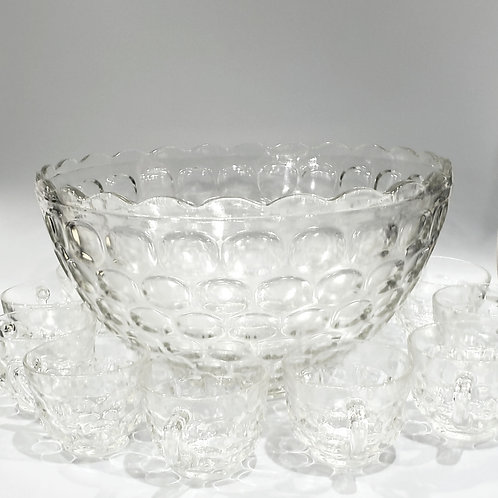 Vintage 1960's Punch Bowls/Glass Celebration Punch Bowl w Bowl Base 9 Cups