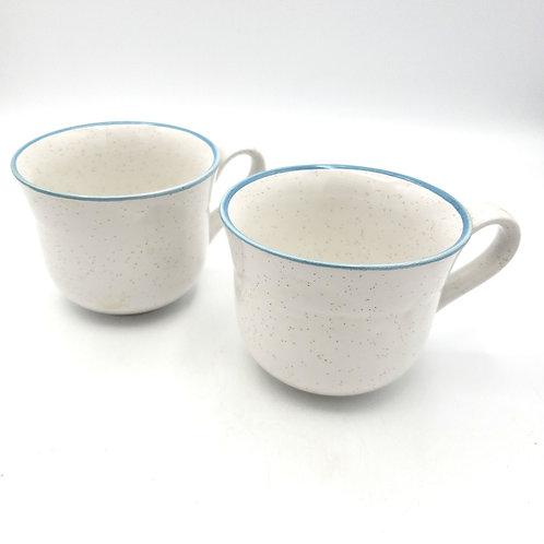 Vintage Galaxy Stone Speckled Light Blue Rim Coffee Mugs Set of 2
