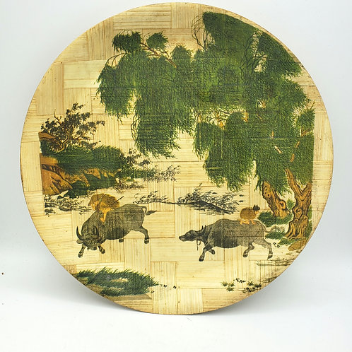 """Vintage Bamboo Plate Home-Coming In the Rain Taiwan 12.5"""""""