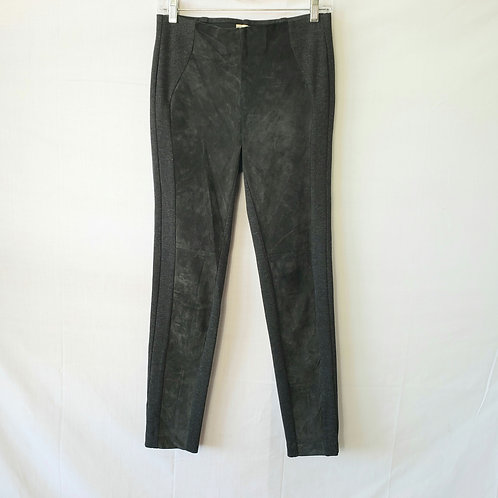Ecru Dark Gray Stretch and Suede Pull On Pants - XS