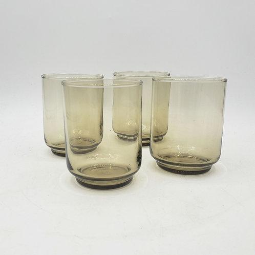 """Vintage Libbey Amber Juice Glasses 3"""" Set of 4"""