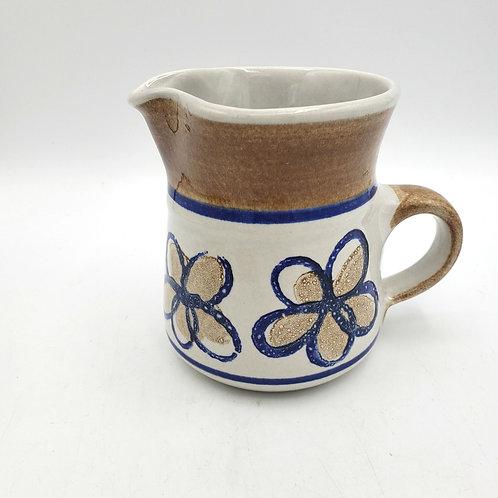 "Handmade Pottery 4"" Glazed Floral Creamer"