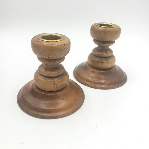 Vintage Yankee Candle Company Wooden Brass Insert Candle Holders Set of 2