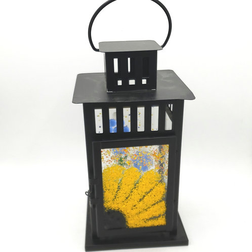 Ikea Floral Glass  Metal Lantern Candle Holder
