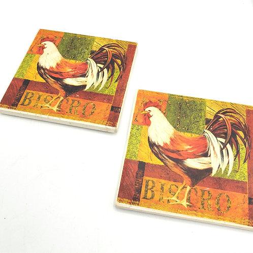 Bistro Rooster Ceramic Tiles Set of 2