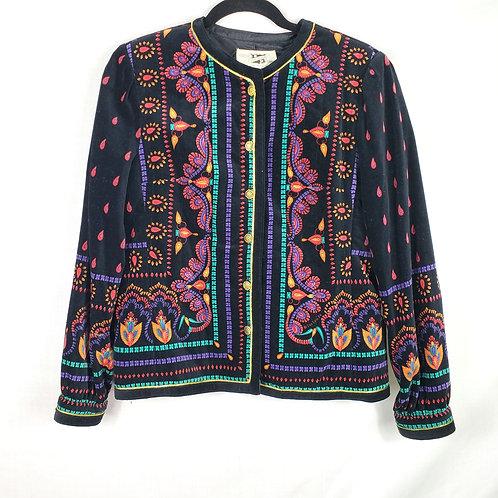 Vintage Saxon Hall Colorful Velvet Jacket - size 10