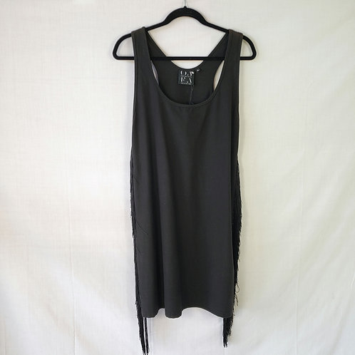 Once + For All Black Stretch Dress with Fringe - L New