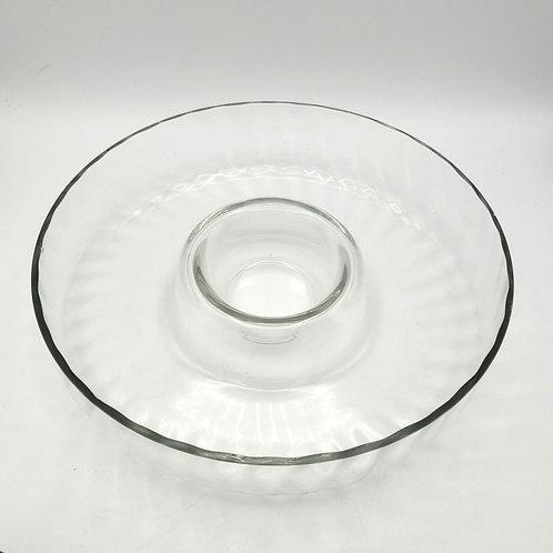 """Textured Glass Appetizer Platter 12"""""""