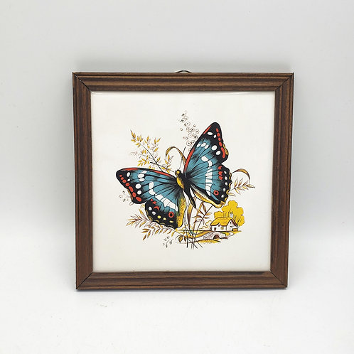 """Vintage Butterfly 1987 Laminate Wood Print 8"""" Wall Hanging"""