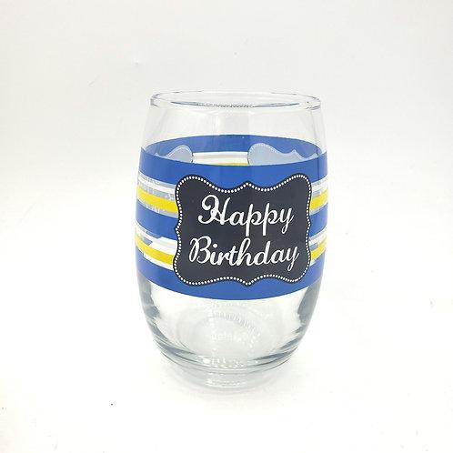 Happy Birthday Stemless Wine Glass LIKENEW