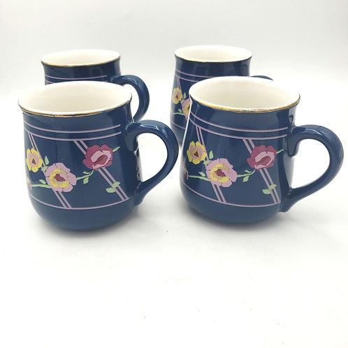 Vintae Sarma Studios Lattice Rose Japan Coffee Cups / Mugs Blue Floral Set of 4