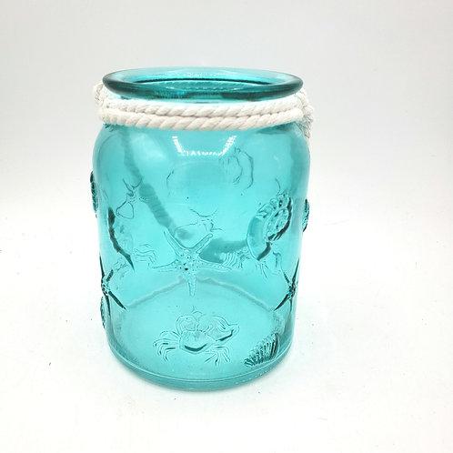 "Glass Teal Rope Lantern Sea Life Embossed Votive Holder 6"""