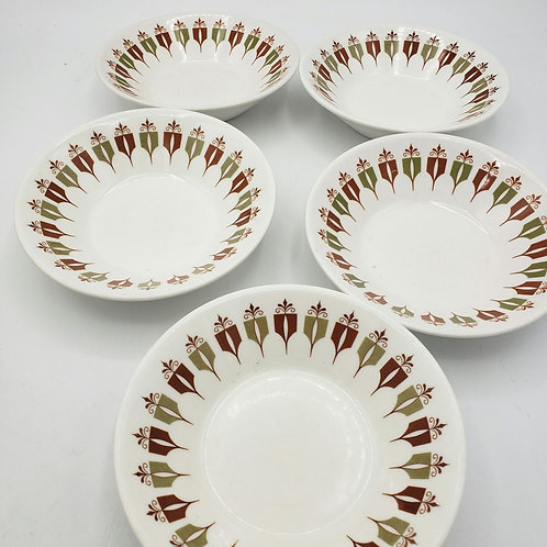 "Vintage Syracuse Syralite China Fruit Dessert Bowl 4.5"" Set of 5"