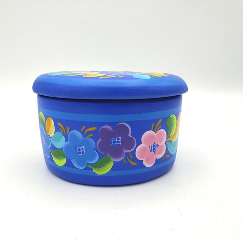 """Blue Ceramic Trinket Box with Lid Floral 4"""" Wide 2.5"""" High"""
