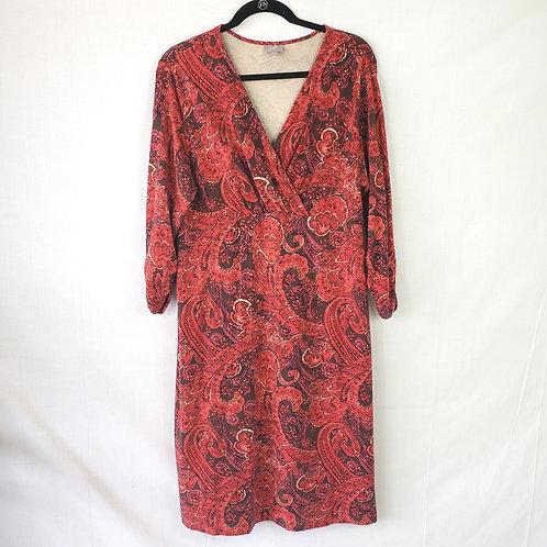 J Jill Wrap Front Paisley Dress - L