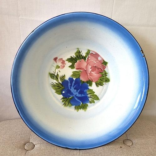 """Vintage Enamel 17"""" Basin Bowl Floral  Large Made in China"""