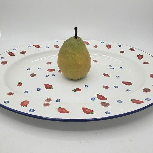 "Bath & Body Work Enamel Strawberry & Blueberry Oval Serving Platter 15"""