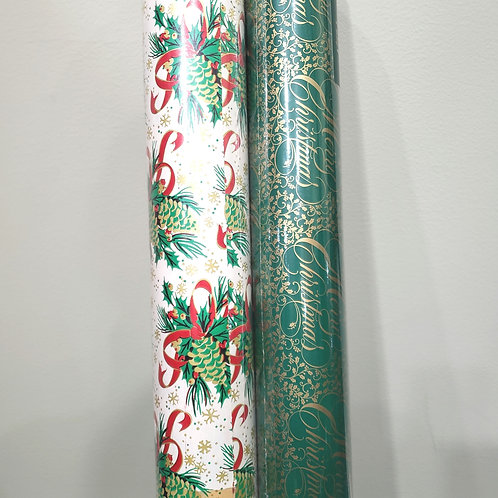 Vintage Wrapping Paper 2 rolls 125 SqFt.
