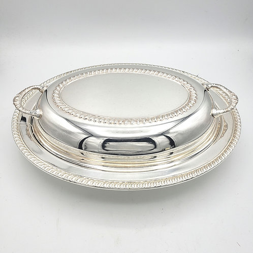 Vintage Empress Silverplate Serving Dish with Divided Glass Insert with Lid