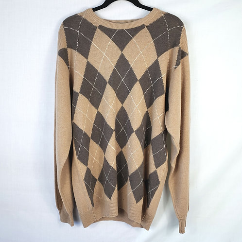 Pringle Sport Lambswool Brown Argyle Sweater - approx XL