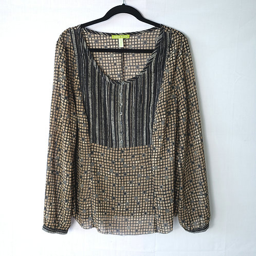 Sigrid Olson Brown Pattern Blouse - XL