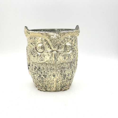 Silver Owl Mercury Glass Candle Holder