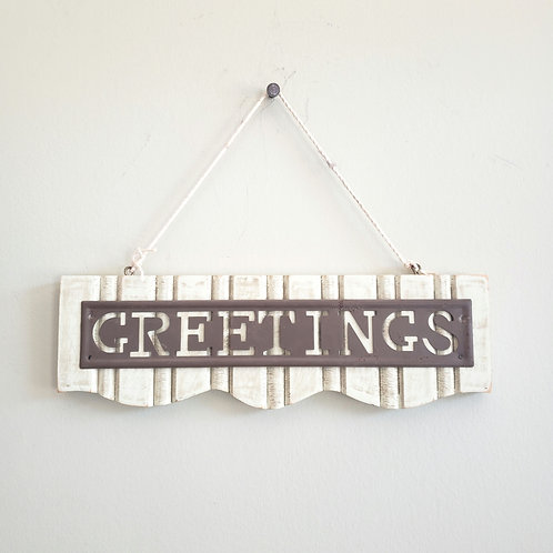 """Greetings Decorative Wooden Sign 10"""""""