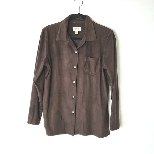 Talbots Brown Faux Suede Button Up - M