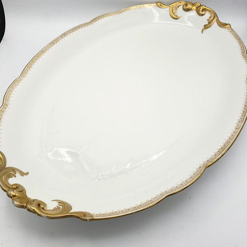 Antique Delinieres & Co. Limoge France Gold Trim Oval Platter