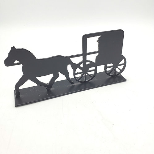 Horse & Buggy Silhouette Metal Tabletop Decoration 6""