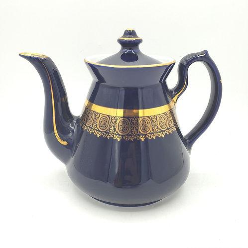 Vintage Hall USA 6 Cup Cobalt Blue & Gold Teapot  0.63X
