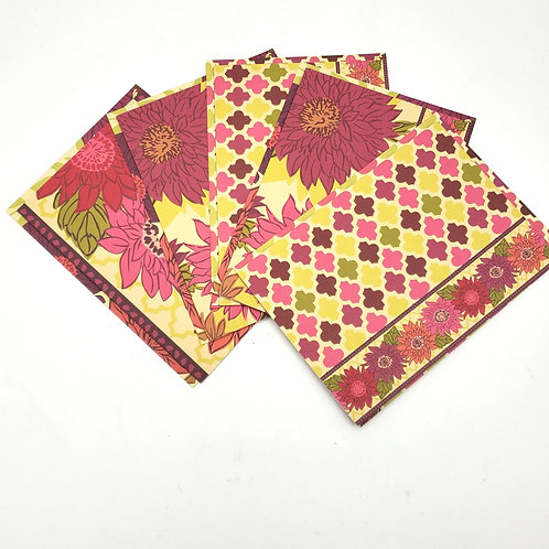 Floral Blank Cards with Decorative Envelopes Set of 5