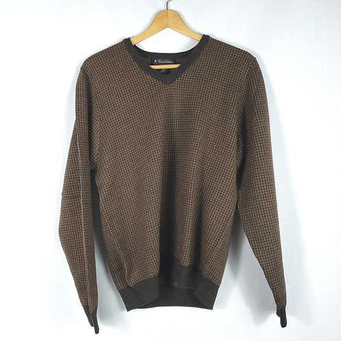 Brooks Brothers Brown Houndstooth Merino Sweater - S