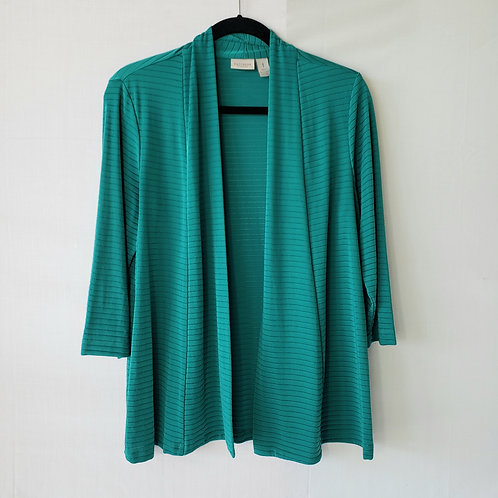 Easywear by Chico's Teal Ribbed Open Cardigan - size 1