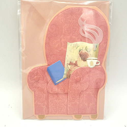 Sofa Chair with Tea and Book, Hope You Are Feeling Better Soon Card w Envelope