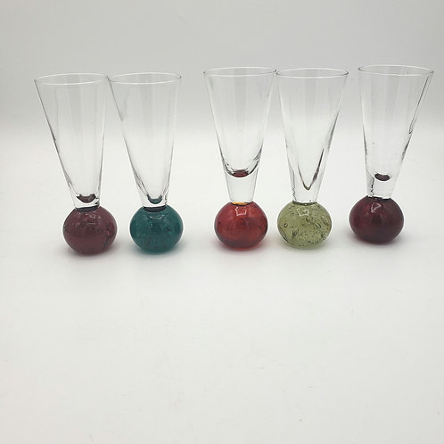 Cordial Liquer Glasses with Colored Ball Stem Set of 5
