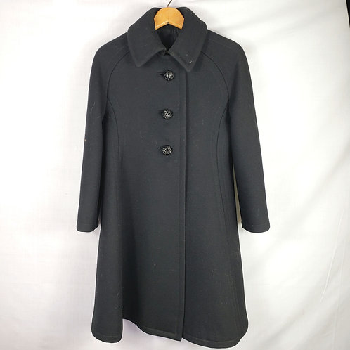 Vintage Black Swing Coat with Sparkle Buttons - approx S