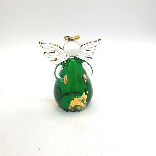 Green Glass and Gold Angel Ornament