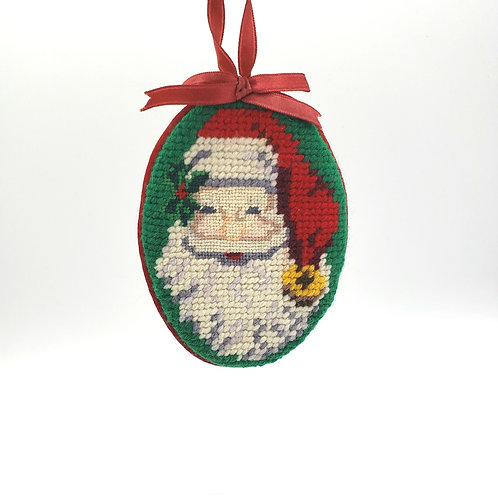 Vintage Needlepoint Santa Claus Ornament