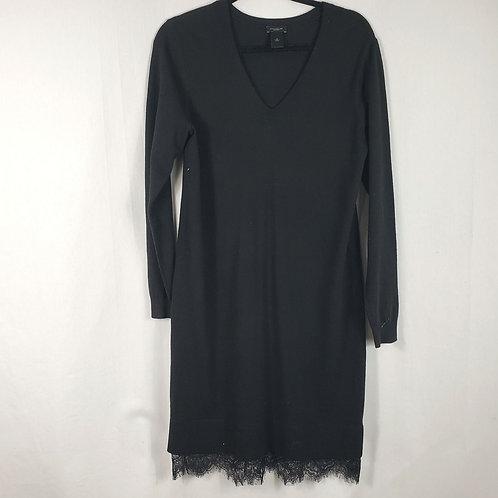 Ann Taylor Black Knit Dress with Lace Trim - M