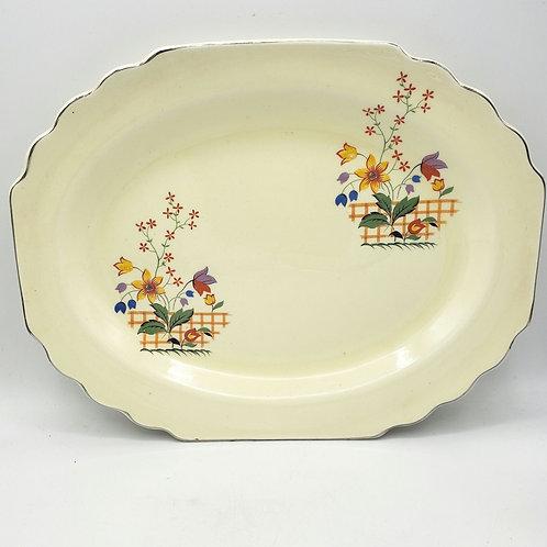 "Vintage Art Deco Lido W.S. George Canarytone Blossoms Serving Platter Floral 14"""